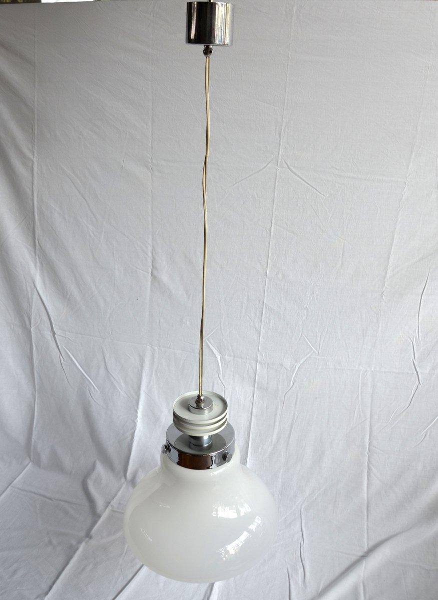 Italienische Vintage Stahl & Glas Lampe