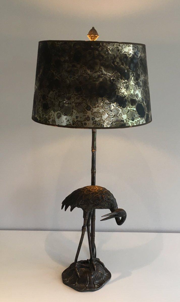 schwarze vintage metall lampe mit vogel skulptur bei. Black Bedroom Furniture Sets. Home Design Ideas
