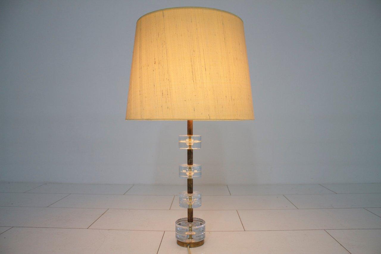 Vintage Messing & Glas Tischlampe von Luxus