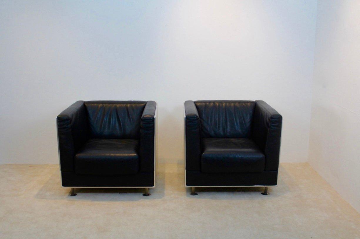 Vintage Leder & Aluminium Sessel von Kunihide Oshinomi für Matteo Gras...