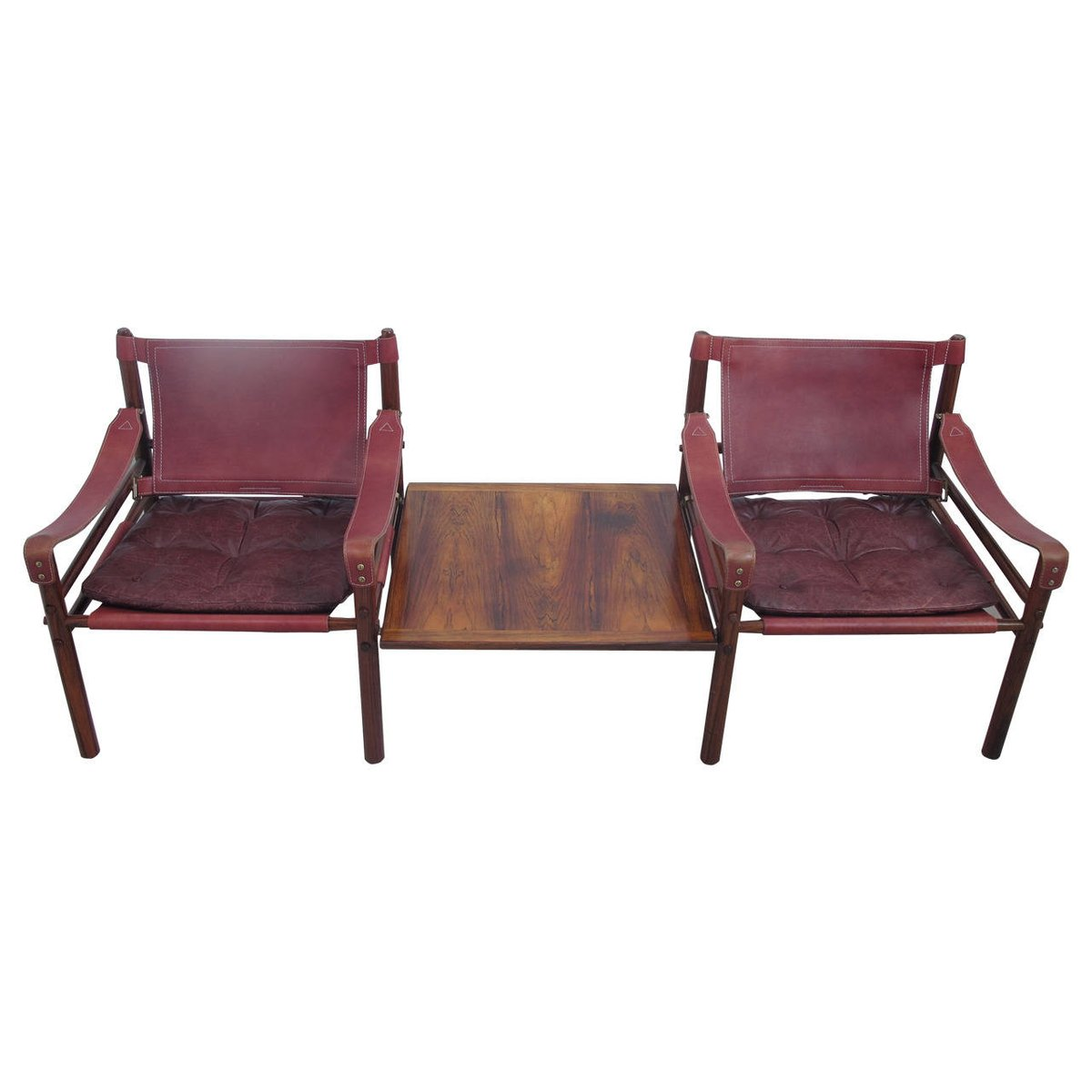 Vintage Swedish Rosewood And Leather Sirocco Safari Chairs With Side Table  By Arne Norell