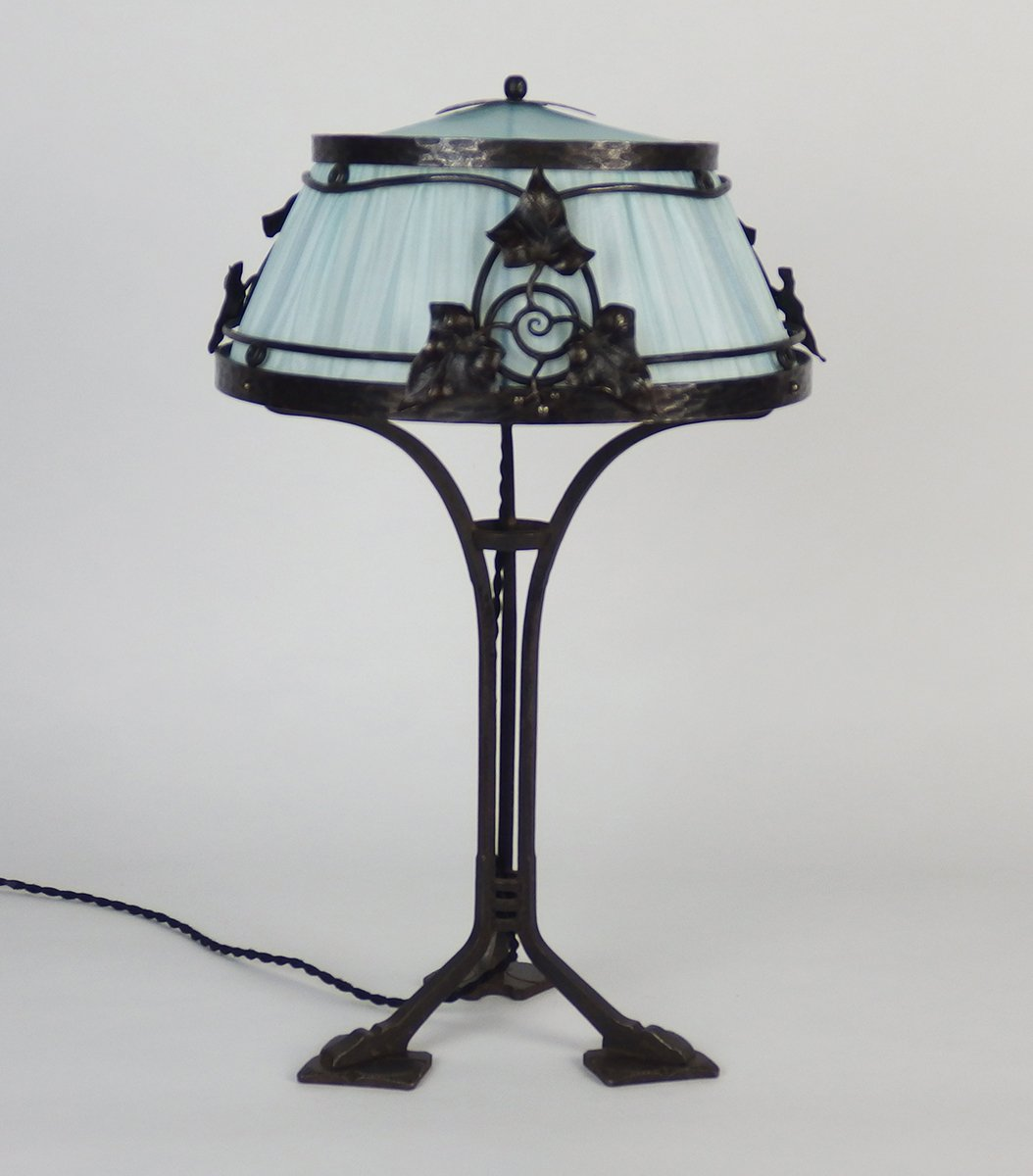 French Wrought Iron Table Lamp, 1910s