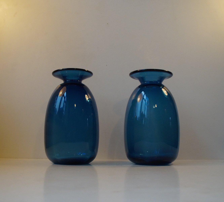 Blaue Dänische Capri Glasvasen 1960e...