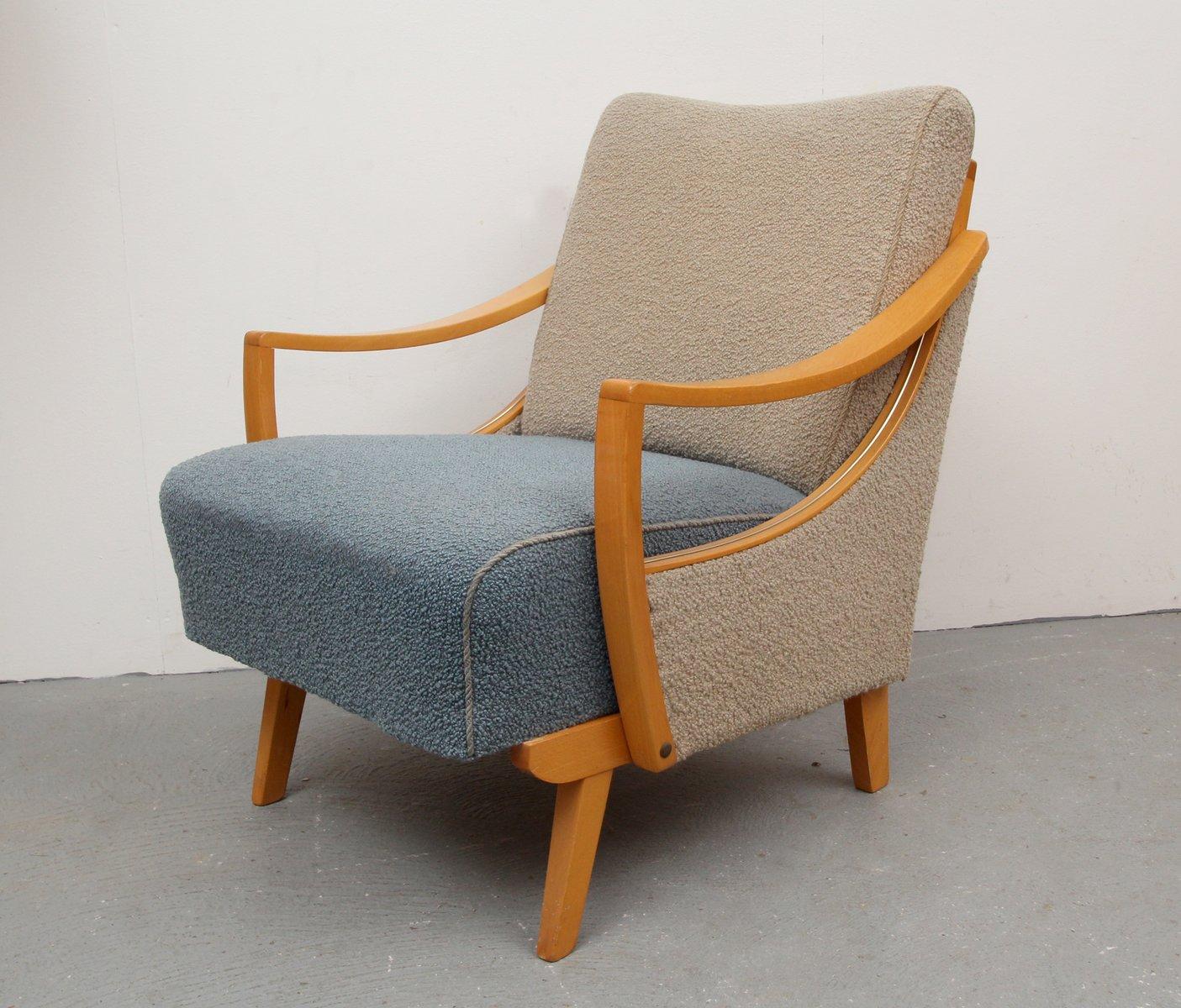 zweifarbiger sessel in beige taubenblau 1950er bei pamono kaufen. Black Bedroom Furniture Sets. Home Design Ideas