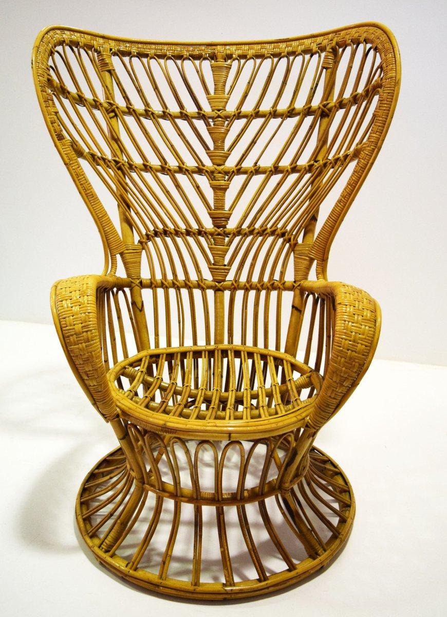 Rattan Armlehnstuhl von Lio Carminati für Casa e Giardino, 1950er | Wohnzimmer > Sessel > Rattansessel
