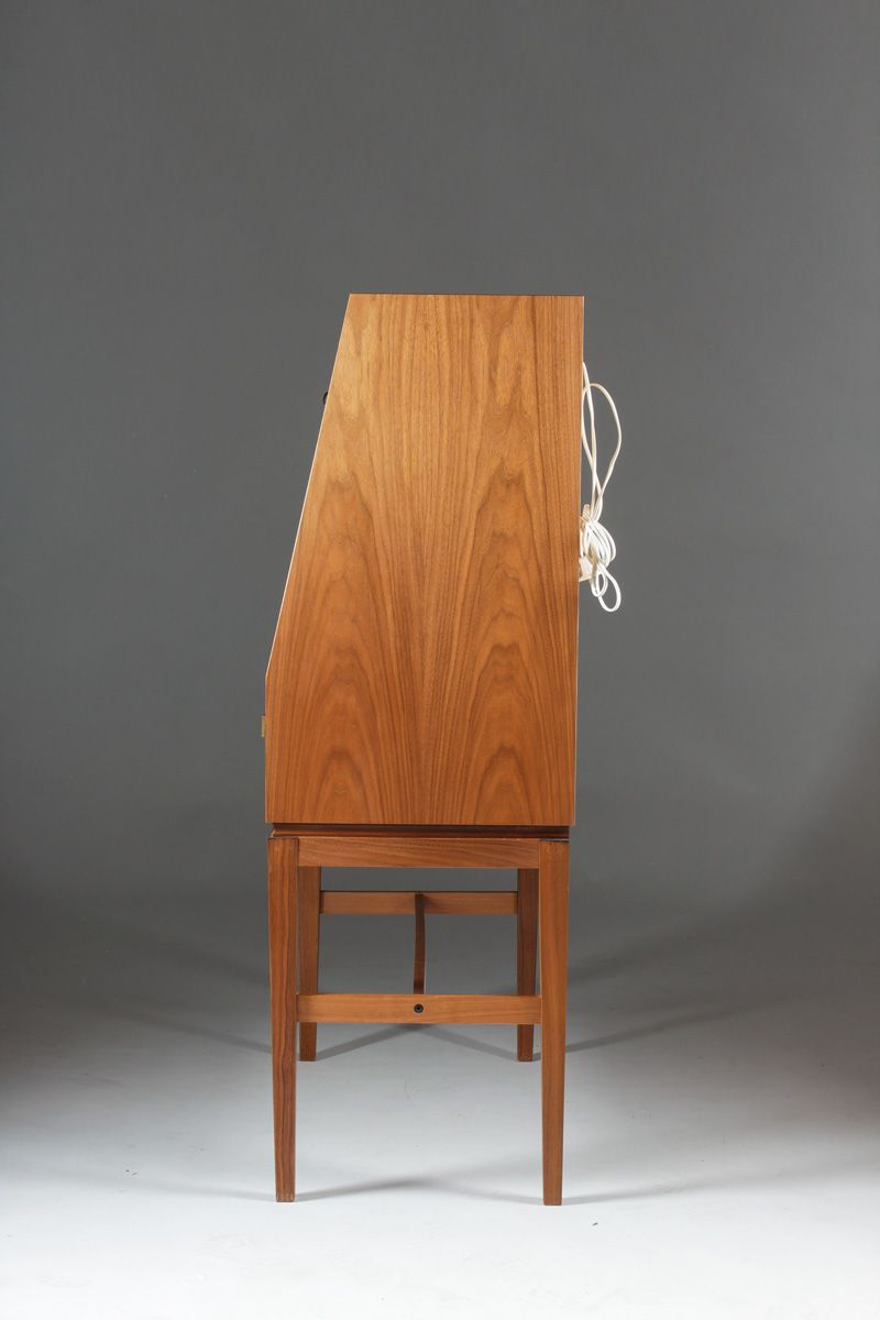 Mid Century Scandinavian Teak Amp Brass Bar Cabinet For Sale