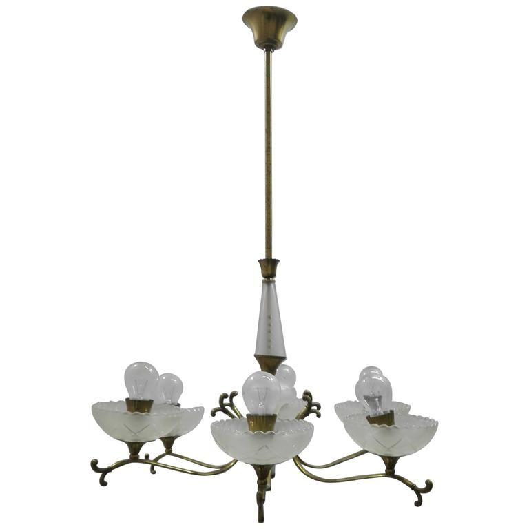 Geometrische Italienische Deckenlampe, 1940er