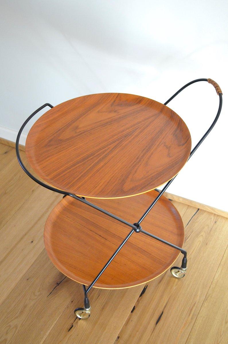 zusammenklappbarer skandinavischer mid century teak servierwagen bei pamono kaufen. Black Bedroom Furniture Sets. Home Design Ideas