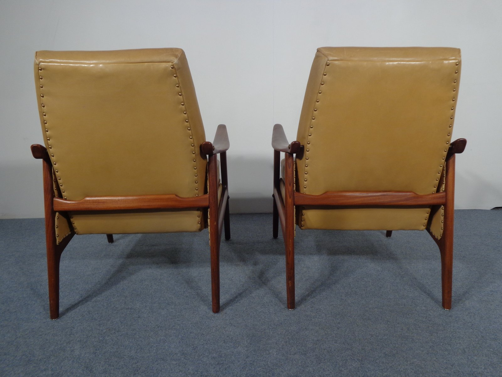 Vintage Danish Teak Amp Leather Lounge Chair For Sale At Pamono