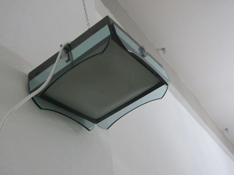 Quadratische Italienische Glas Deckenlampe, 1970er