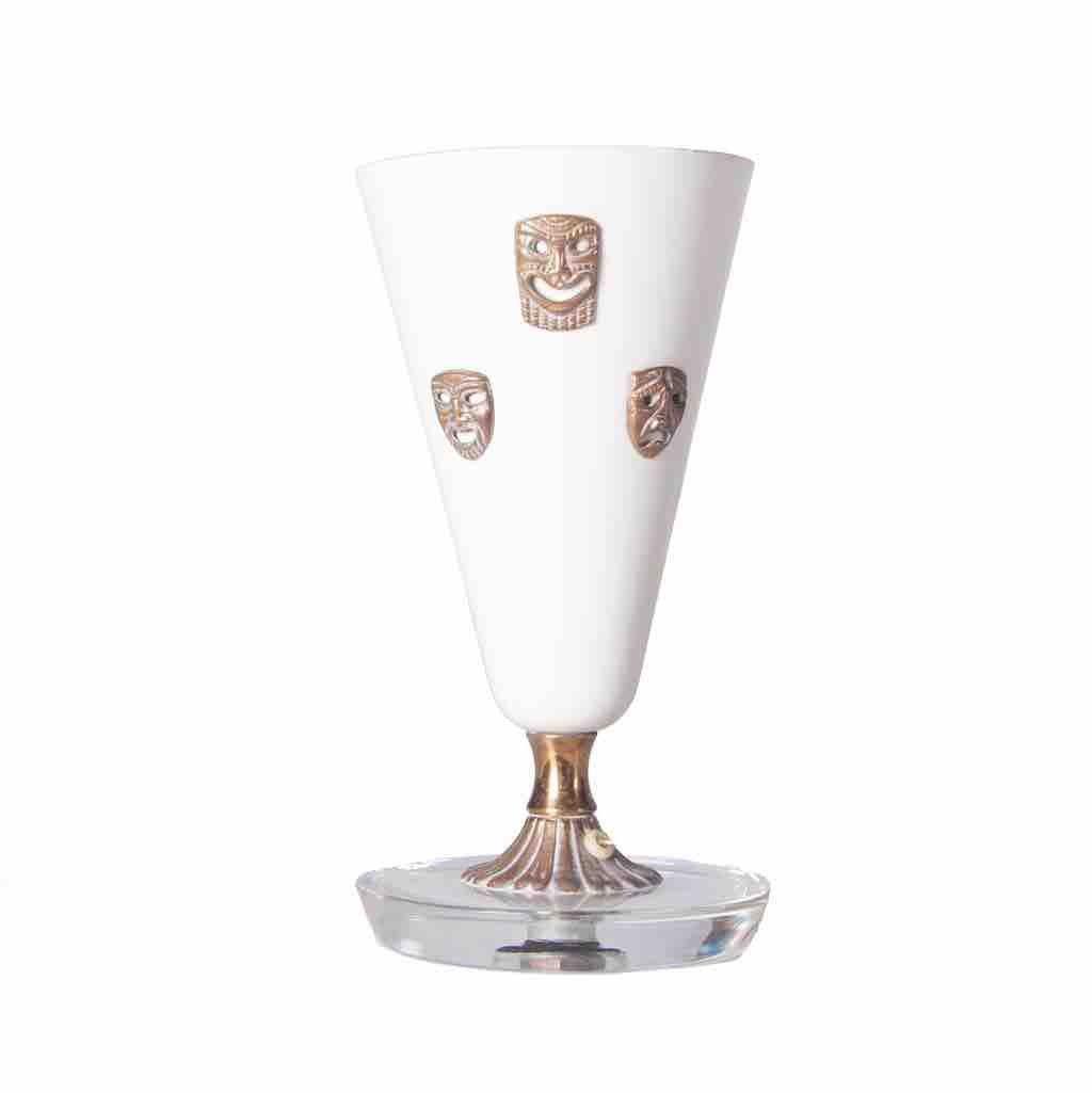 tischlampe aus stahl messing glas mit masken dekoration 1950er bei pamono kaufen. Black Bedroom Furniture Sets. Home Design Ideas