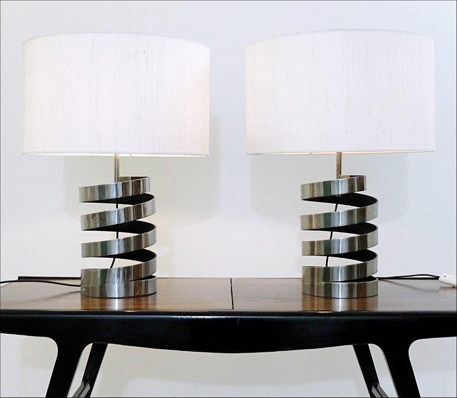 Sprungfeder Chrom Tischlampen, 1970er, 2er Set