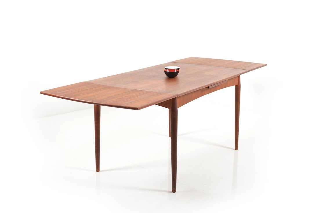 Extendable danish teak dining table 1950s 7 1966 00 price per piece