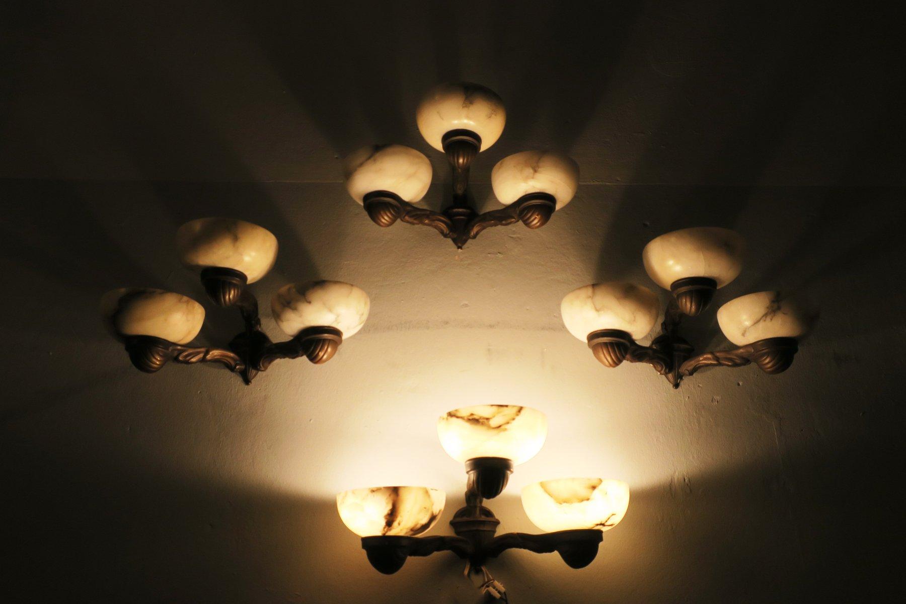antike alabaster bronze wandlampen 4er set bei pamono kaufen. Black Bedroom Furniture Sets. Home Design Ideas