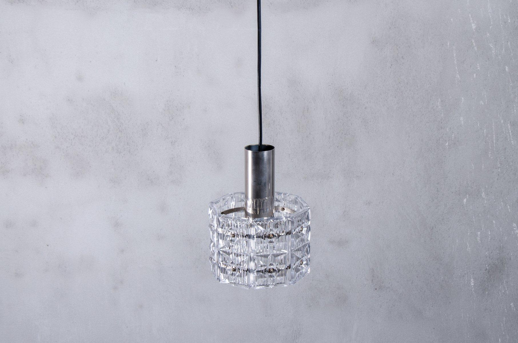 Geometrische Vintage Kristall Prismen Hängelampe von Kinkeldey