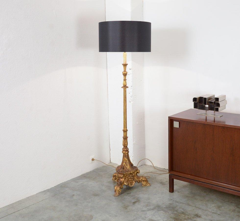 Vergoldete Vintage Stehlampe aus Holz