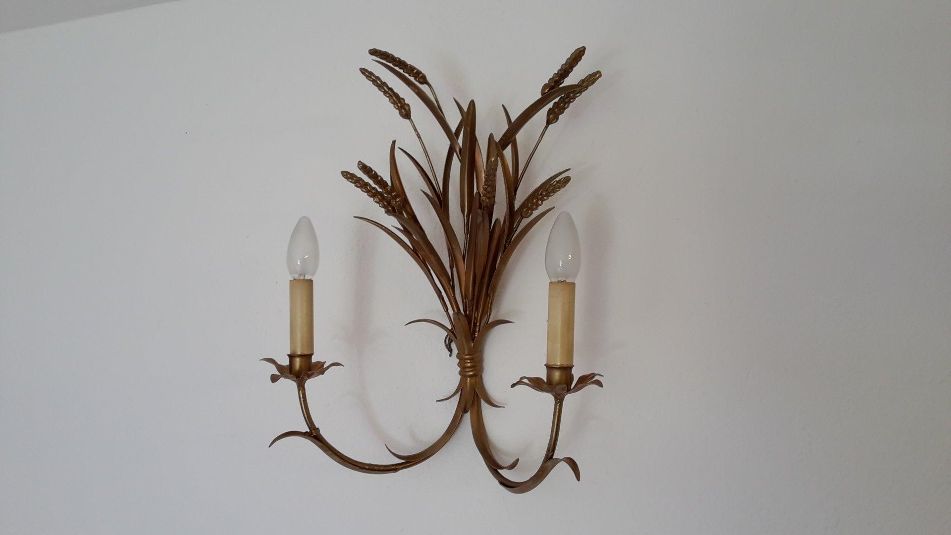 Italienische Vintage Messing Wandlampe, 1950er