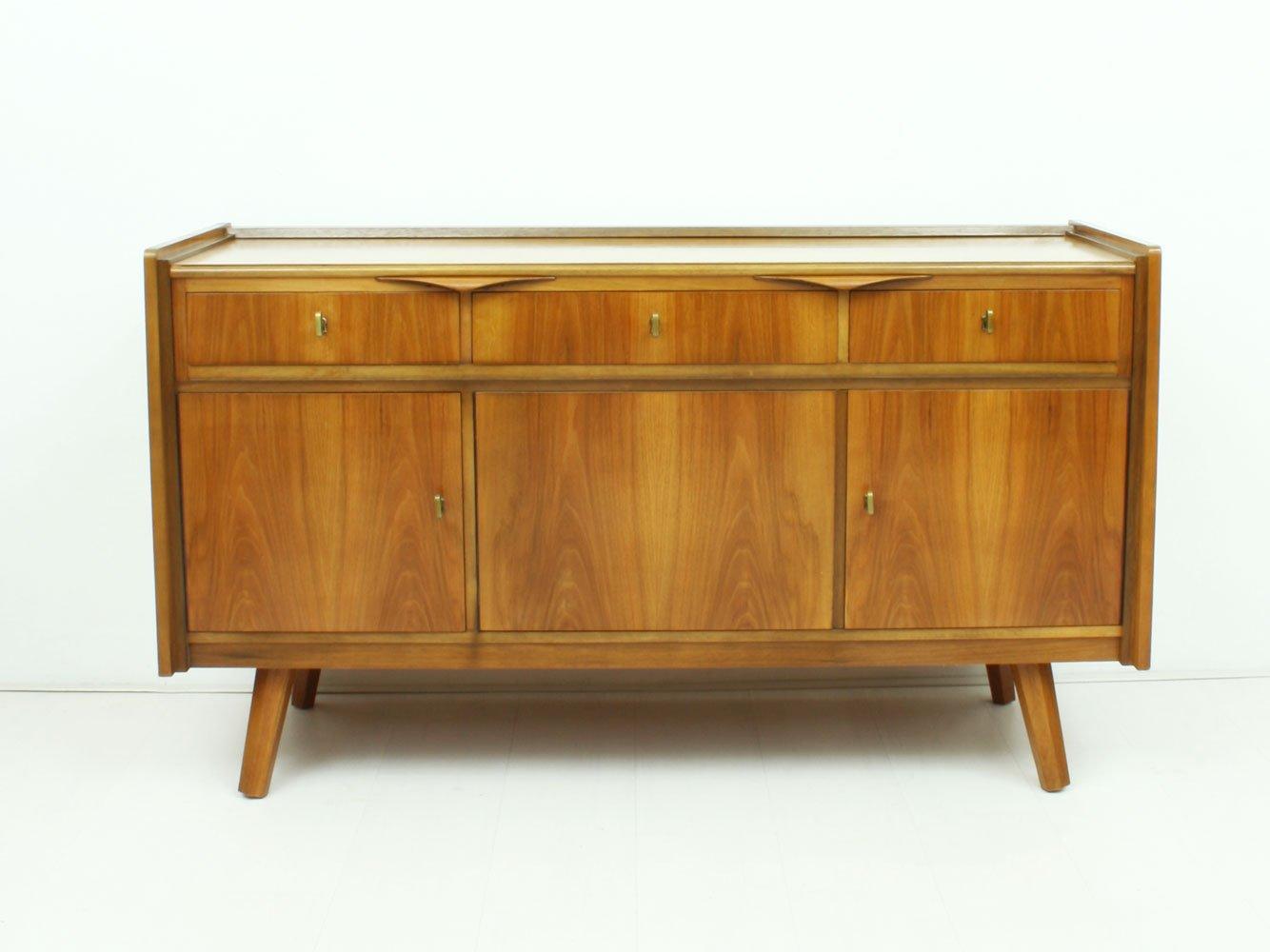 Deutscher Walnuss Schreibtisch & Sideboard, 1950er