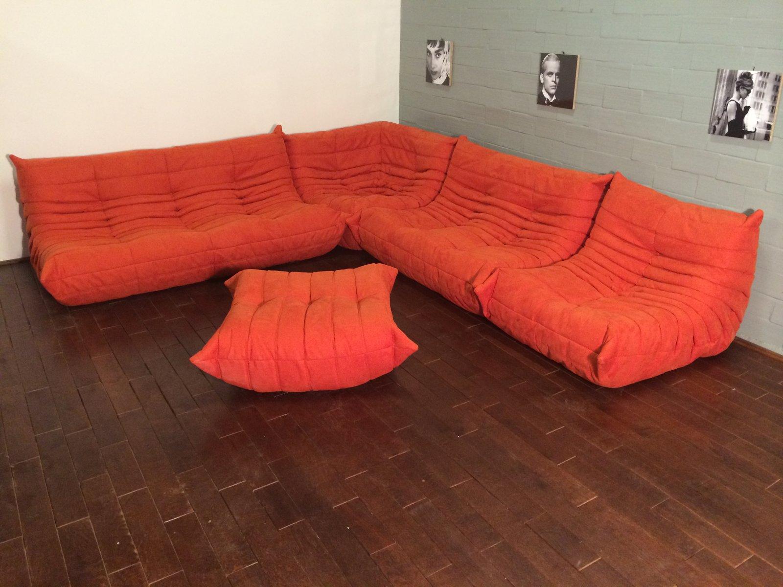 Oranges Mikrofaser Togo Sofa Set Von Michel Ducaroy Für Ligne Roset