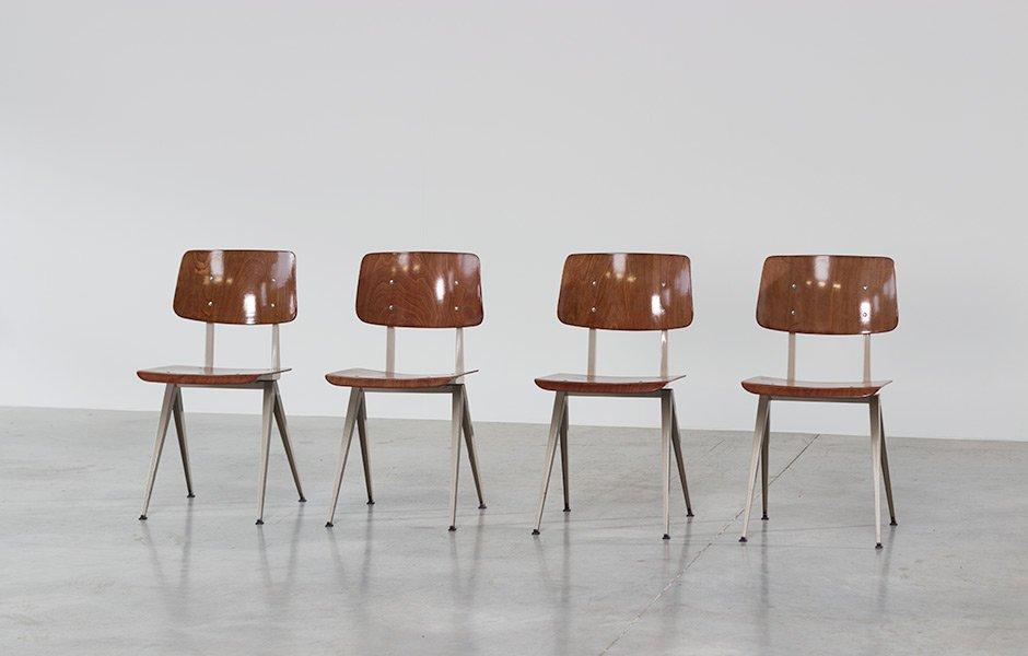 Sedie a compasso vintage industriali con sedute in compensato, set ...
