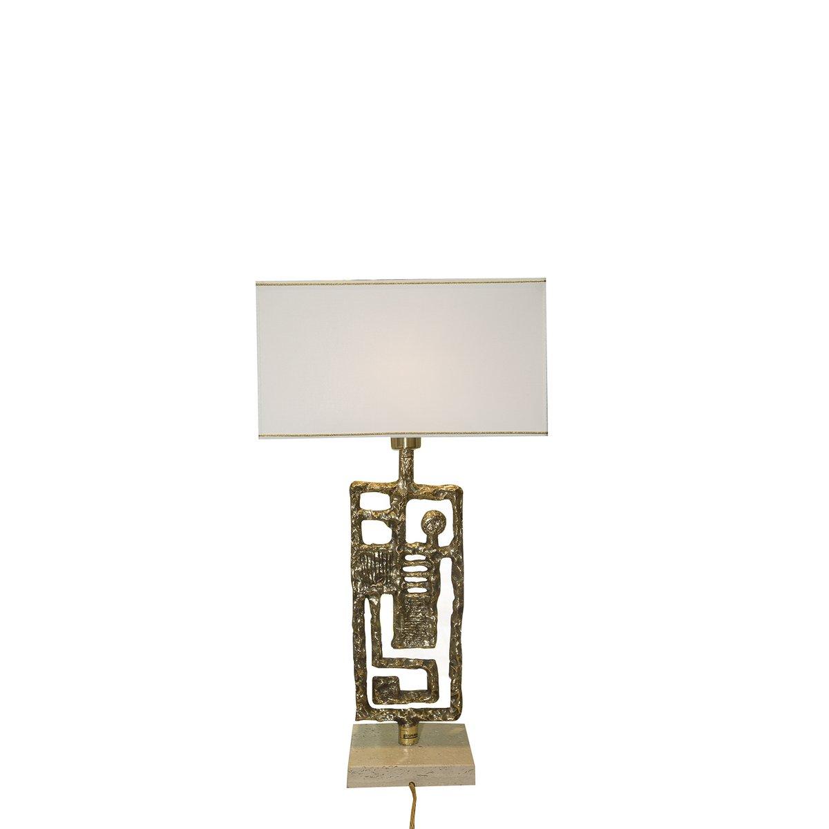 Vergoldete Vintage Lampe aus Bronze von Angelo Brotto für Esperia