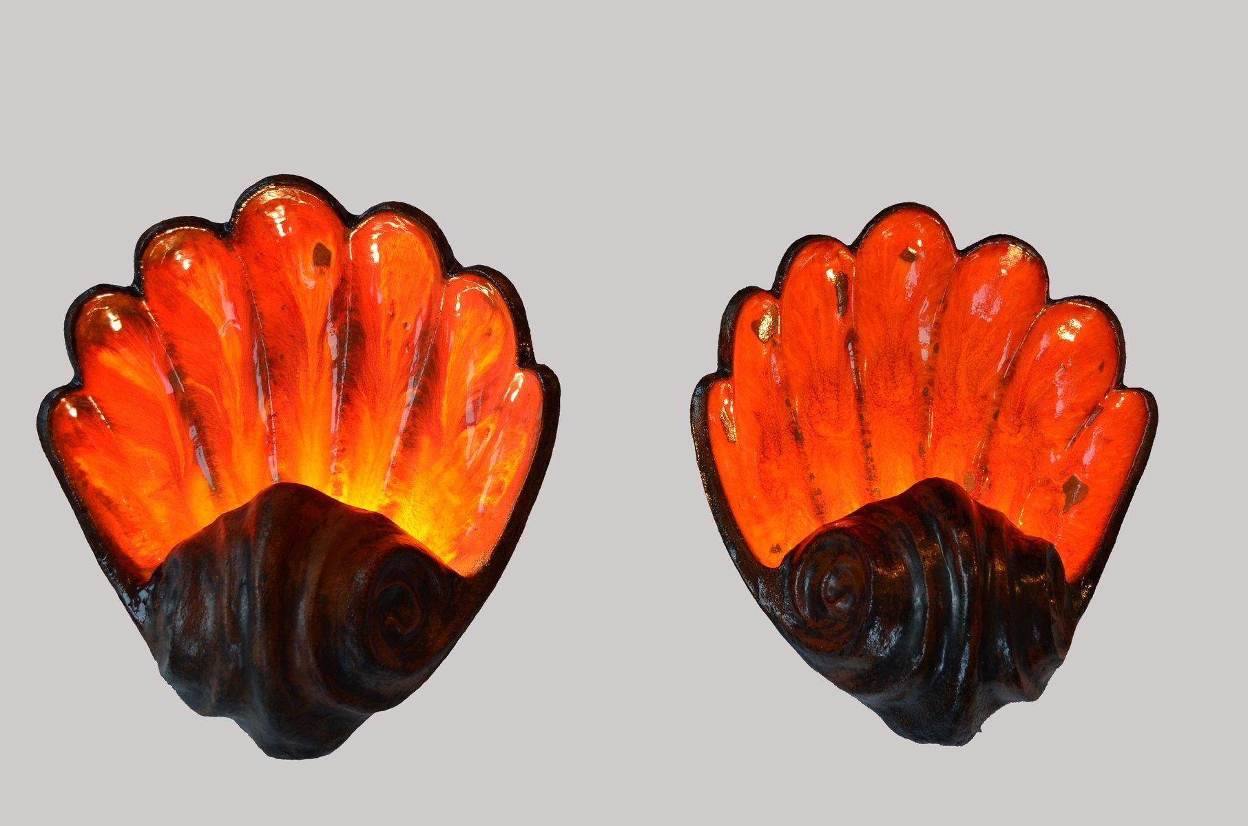 Mid-Century Fat Lava Muschel Wandlampen, 2er Set