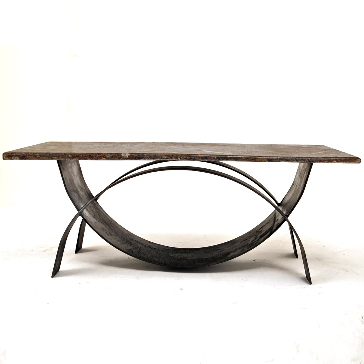 Modernist Coffee Table With Fossil Stone Top 1980s