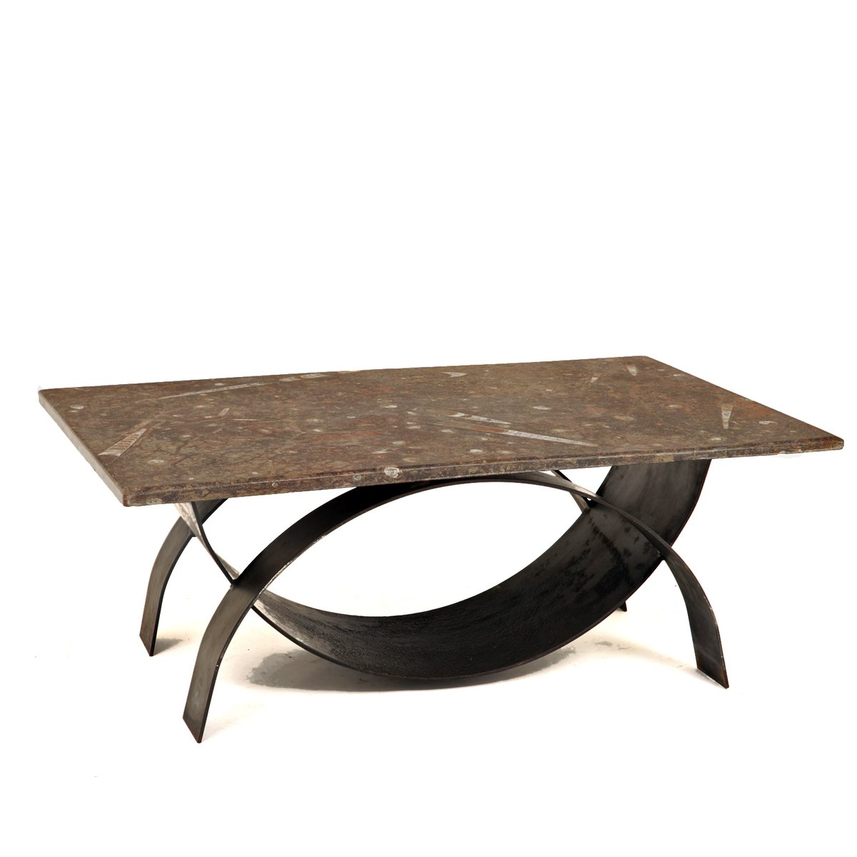 Modernist Coffee Table With Fossil Stone Top 1980s 7 3 893 00 Per Piece