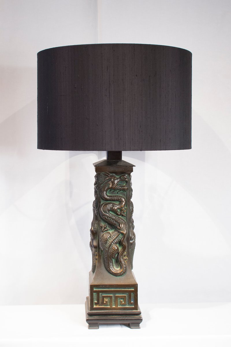Vintage Drachen Chinoiserie Tischlampe