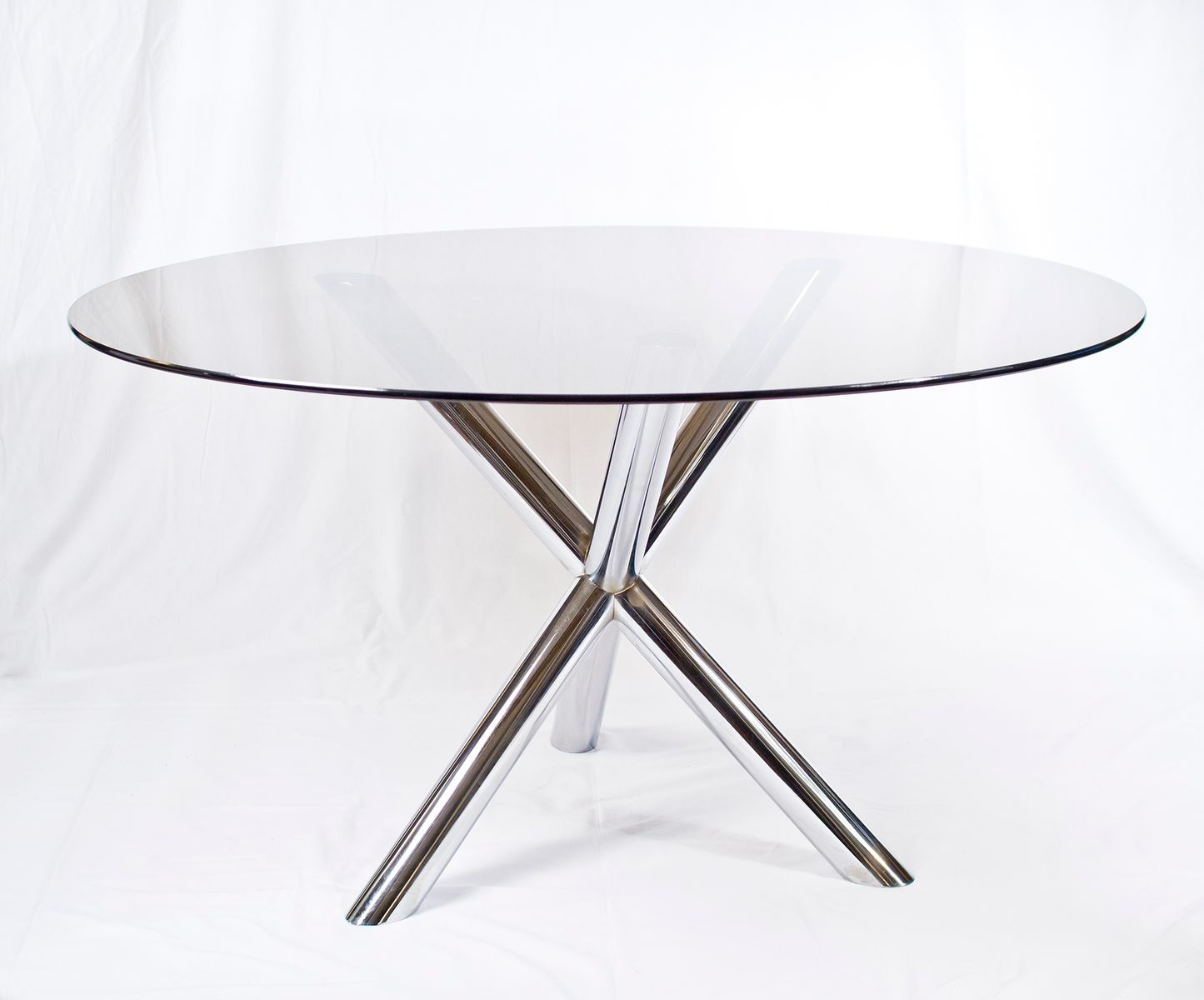 Chrome glass dining table 1970s