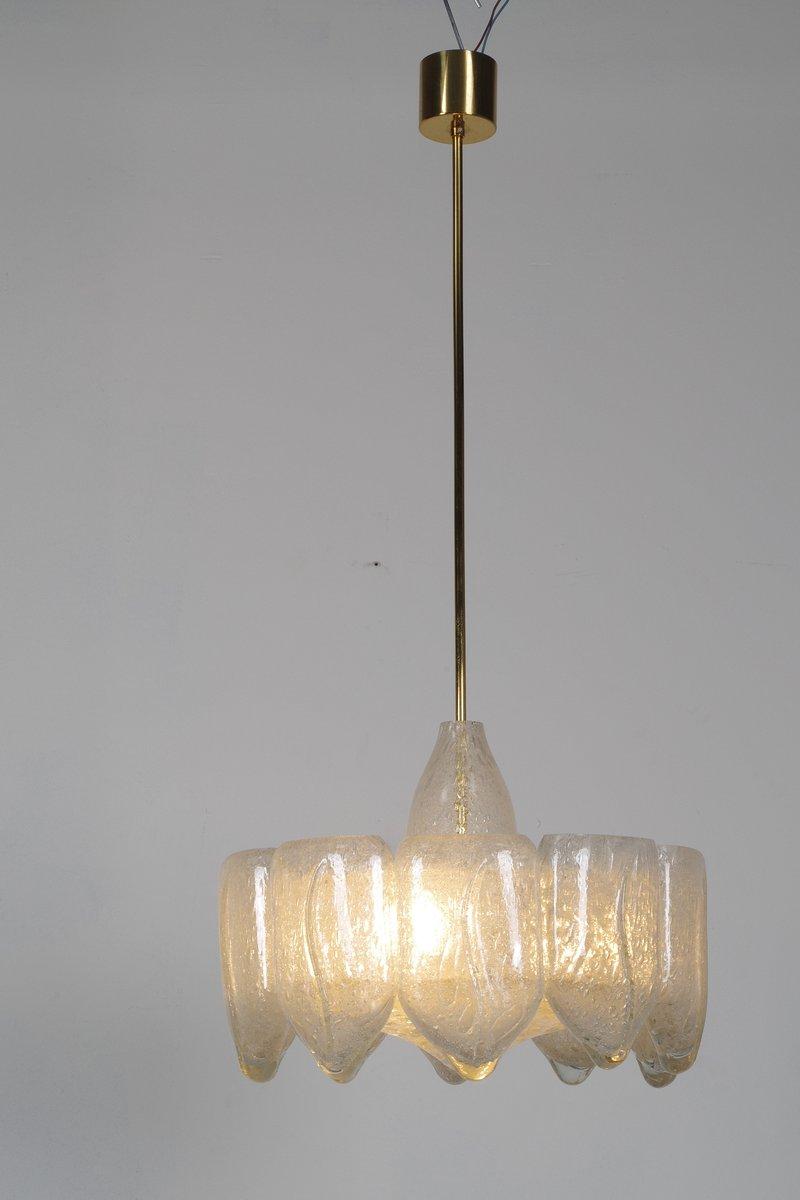 Mid-Century Eisglas Kronleuchter von Doria