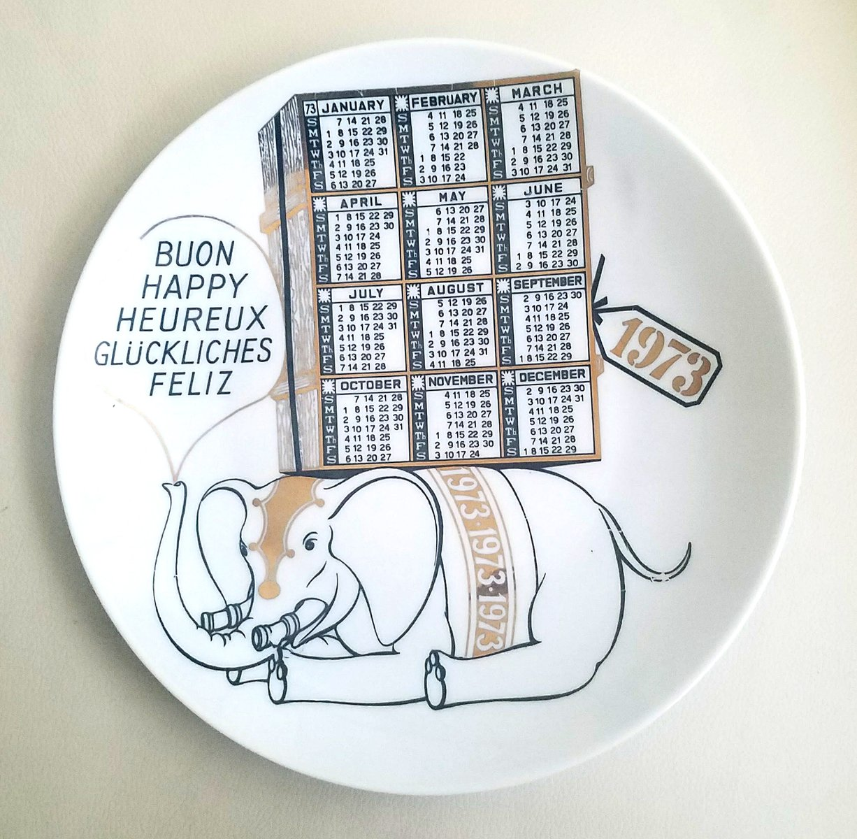 Year 1973 Porcelain Calendar Plate By Piero Fornasetti For Sale At