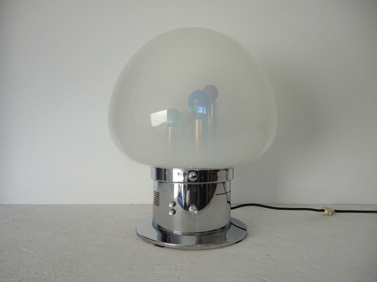 Italienische Geräuschaktivierte Lampe aus Mundgeblasenem Glas & Chrom,...