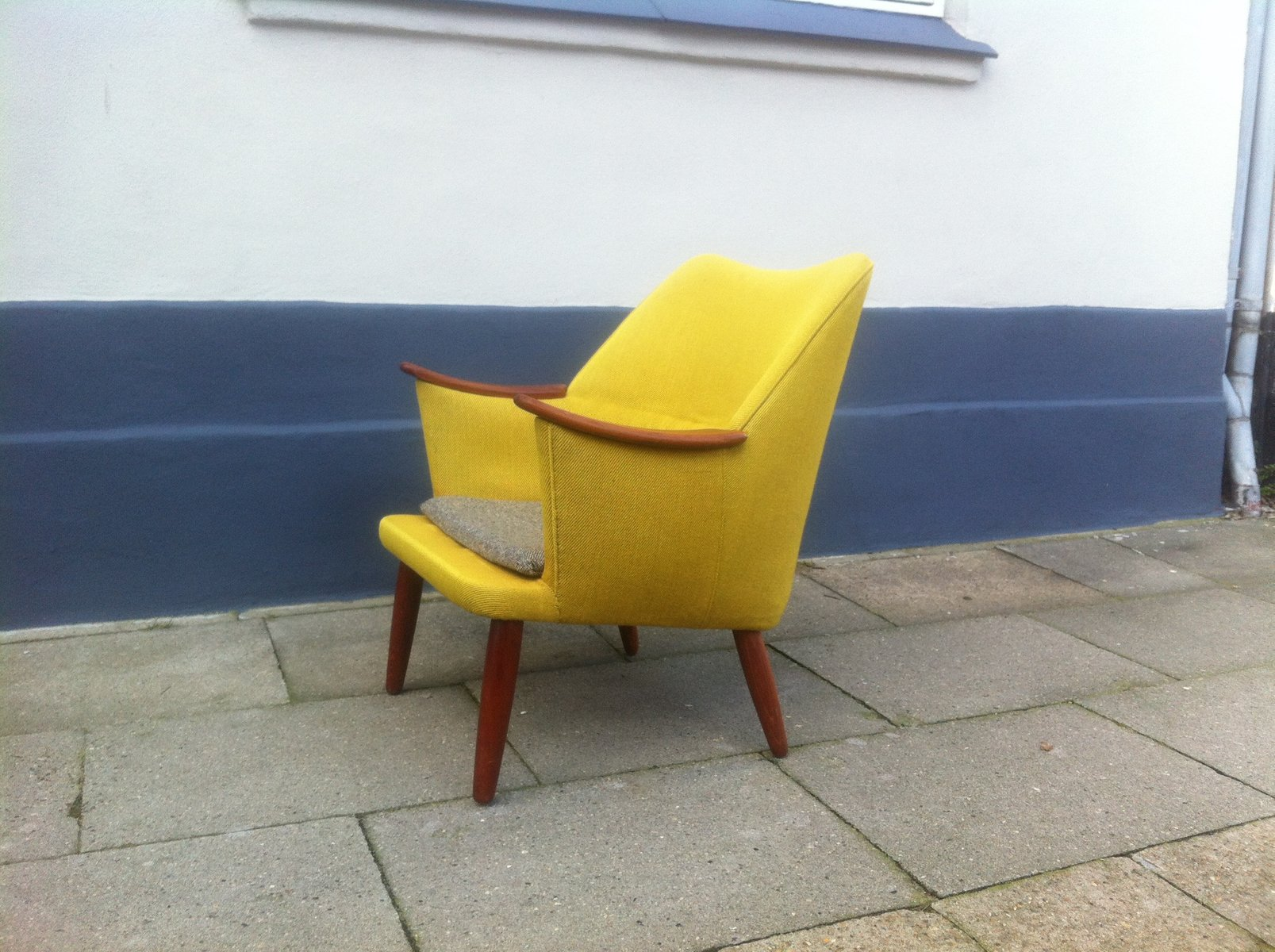 Danish Mid Century Modern Easy Chair In Yellow Wool With Teak Accents 1950s