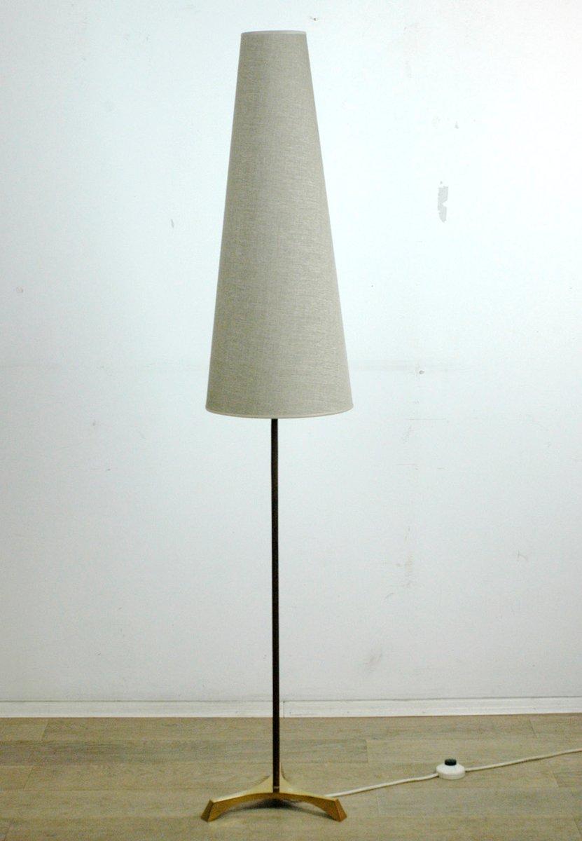 Österreichische Mid-Century Teak & Messing Stehlampe, 1950er