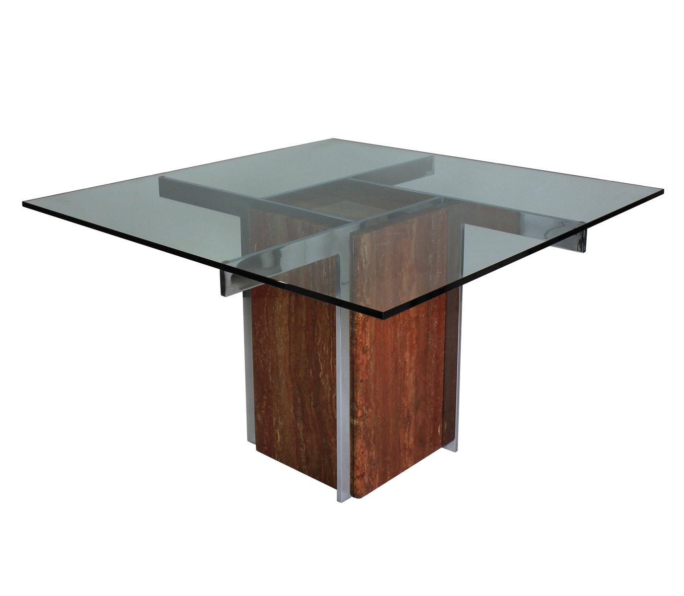 table de salle manger moderniste en marbre et en chrome 1960s en vente sur pamono. Black Bedroom Furniture Sets. Home Design Ideas