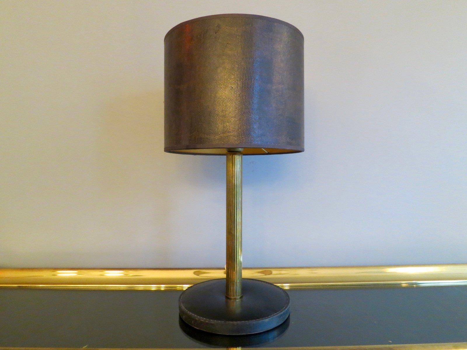 Handgenähte Französische Leder & Messing Tischlampe