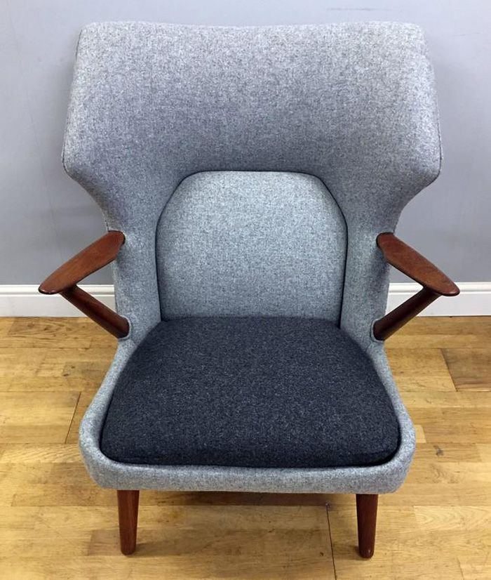 d nischer teak wolle sessel von kurt olsen f r slagelse mobelvaerk 1955 bei pamono kaufen. Black Bedroom Furniture Sets. Home Design Ideas