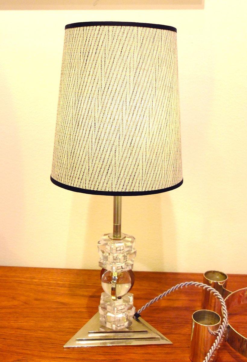 Versilberte Französische Tischlampe, 1930er