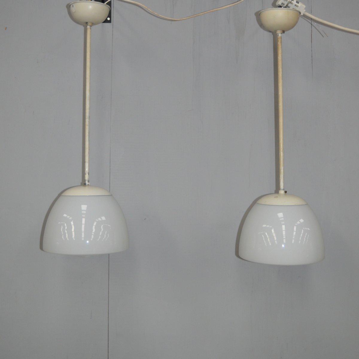 Opalglas Hängelampen von Gispen, 1930er, 2er Set