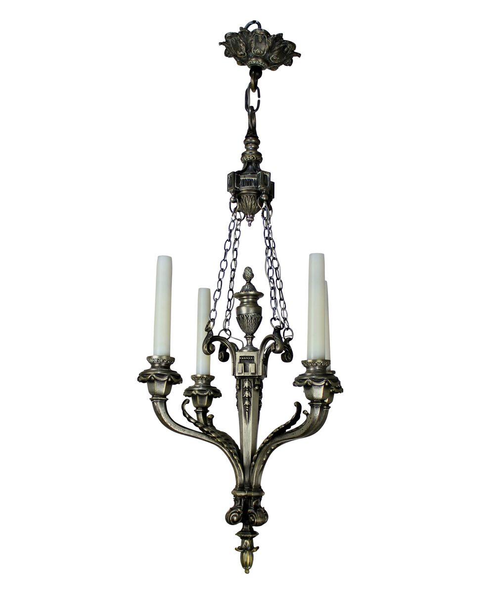 Silberner Antiker Französischer Kronleuchter mit Vier Leuchten