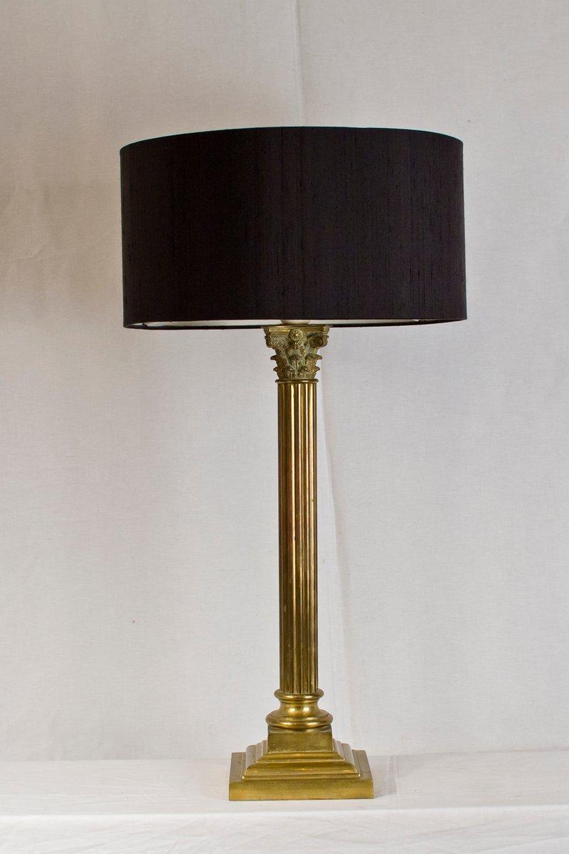 Französische Vintage Messingsäulen Lampe