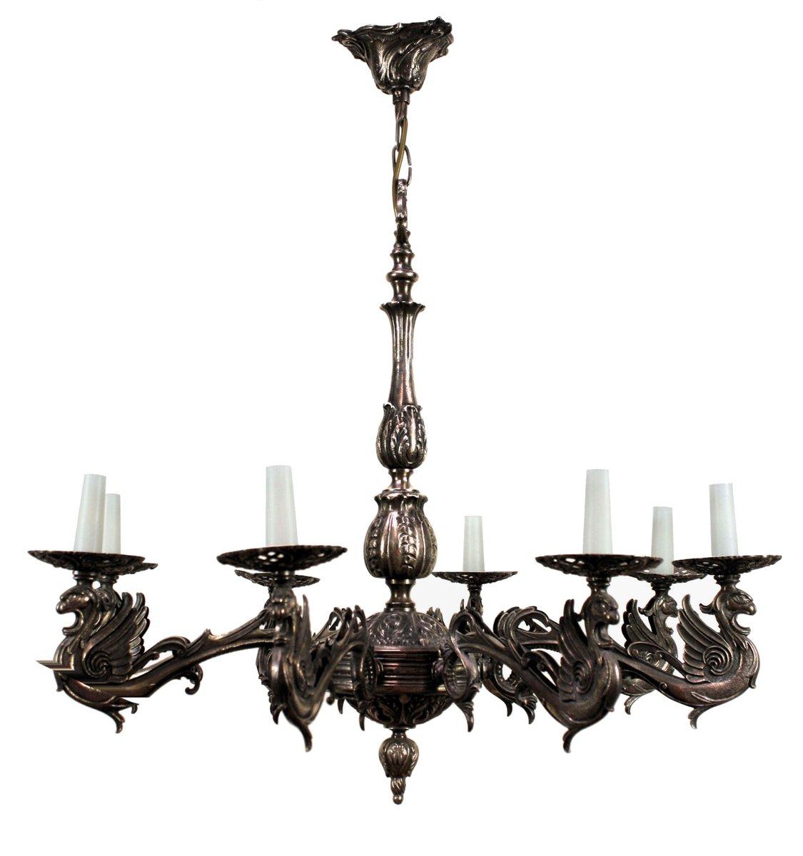 Französischer Kronleuchter aus Versilberter Bronze im Gothischen Stil,...