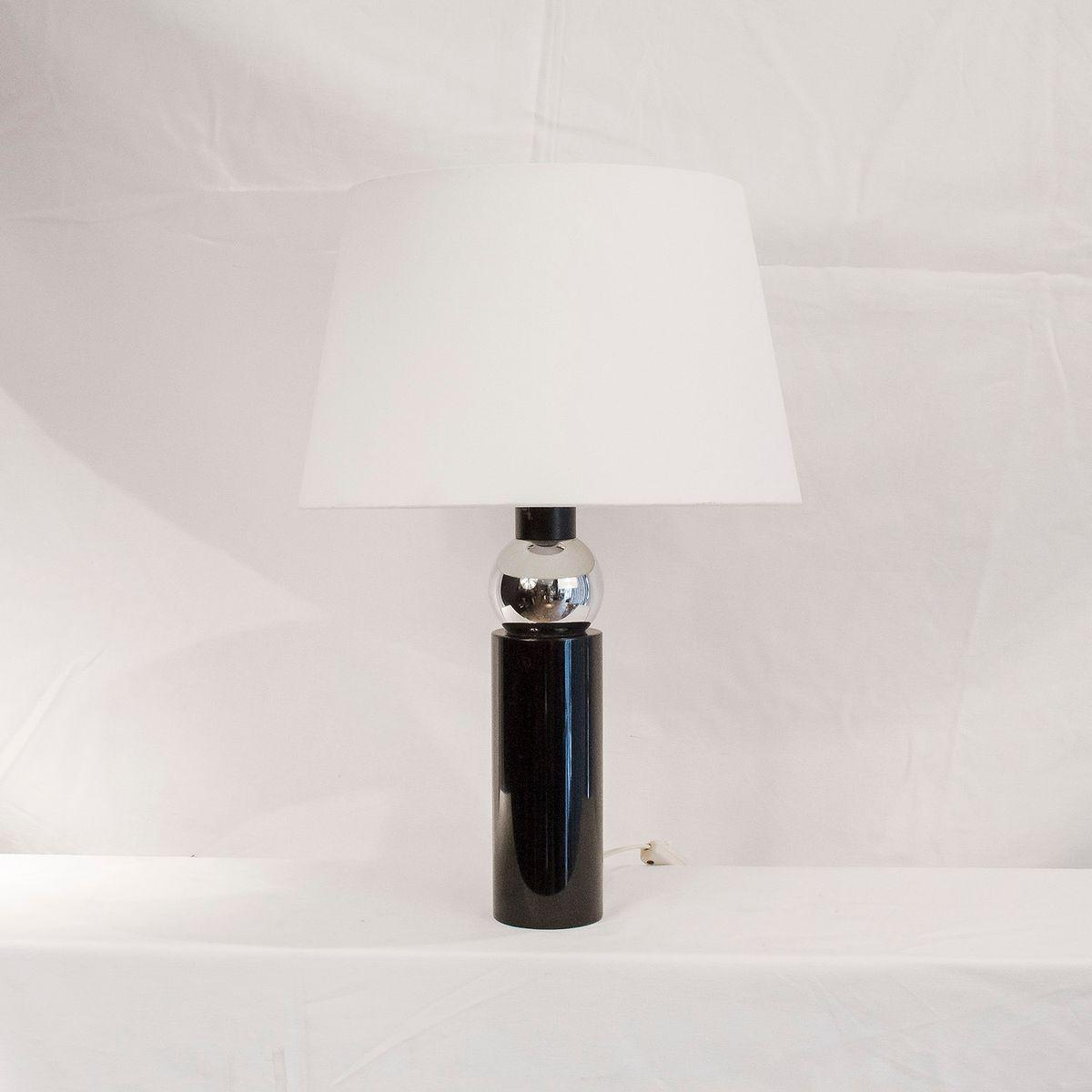Schwarz Lackierte Tischlampe mit Chromkugel, 1970er