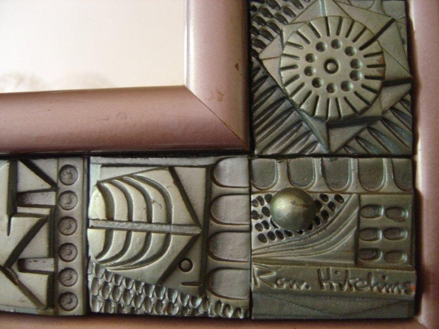 Specchio vintage in mattonelle di terracotta di ron hitchins anni