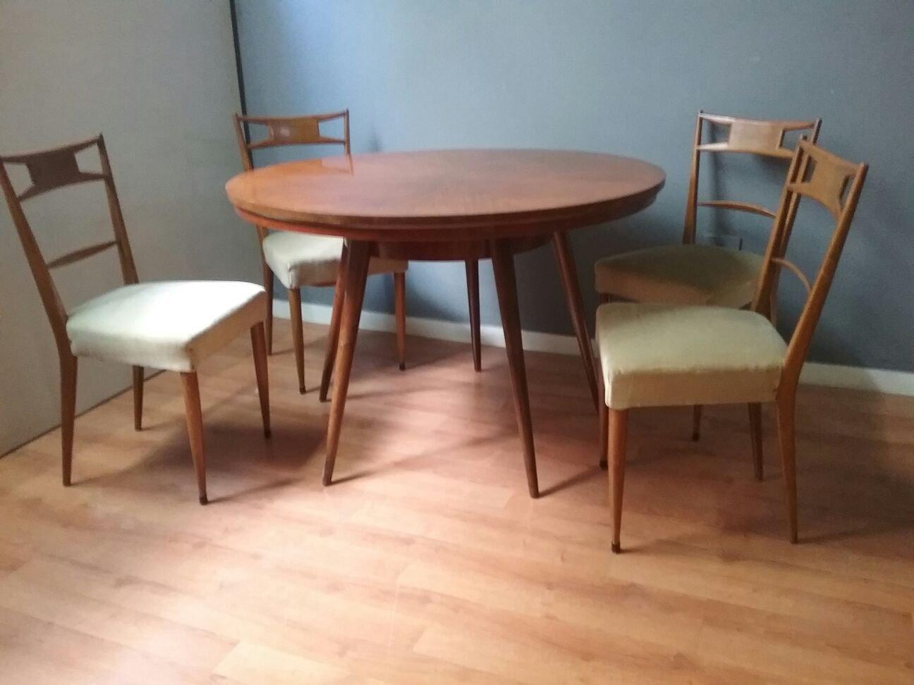 Table De Salle A Manger Chaises Vintage 1950s En Vente Sur Pamono
