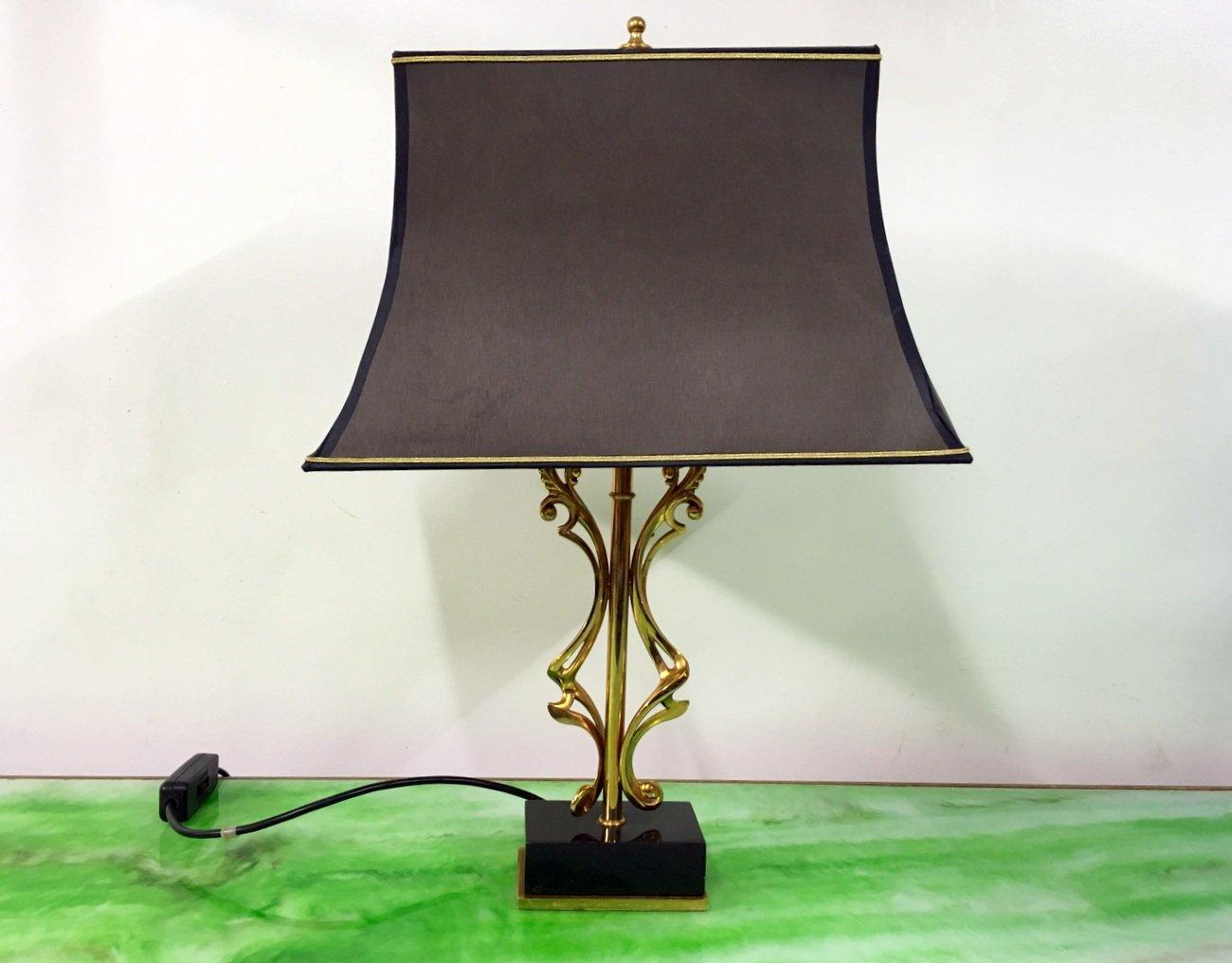 Abstrakte Messing Lampe mit Marmor Sockel