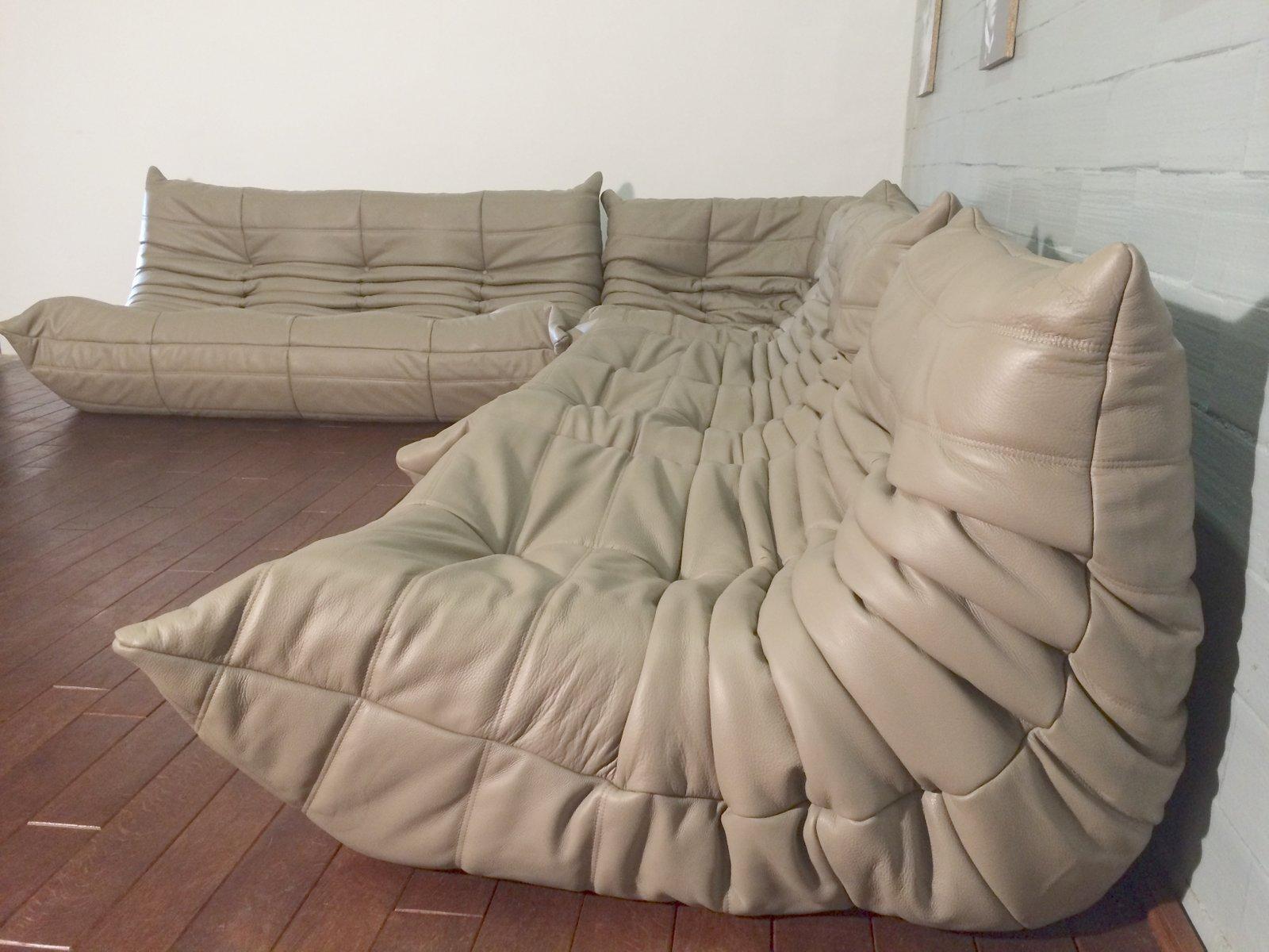 Beige Leather Togo Sofa Set By Michel Ducaroy For Ligne Roset, 1974