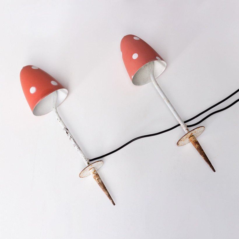 Vintage Pilze Gartenlampen, 1950er, 2er Set