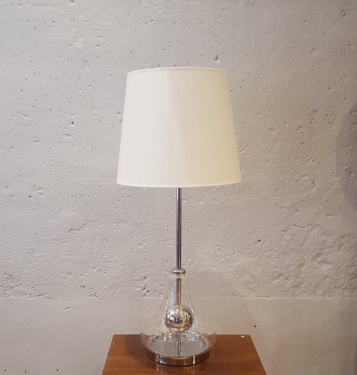 Große Lampe aus Glas & Verchromten Metall, 1970er